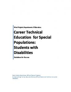 Career Technical Education for Special Populations: Students with Disabilities