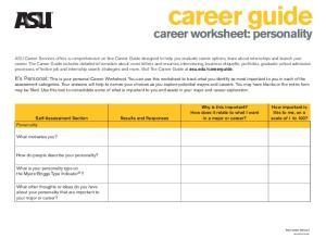 career worksheet: personality