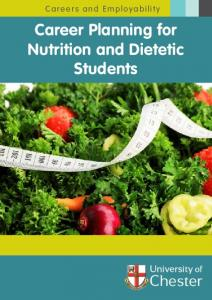 Careers and Employability. Career Planning for Nutrition and Dietetic Students