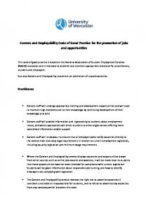 Careers and Employability Code of Good Practice for the promotion of jobs and opportunities