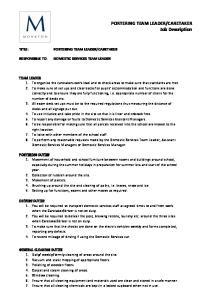 CARETAKER Job Description