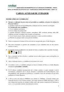 CARGO: AUXILIAR DE CUIDADOR