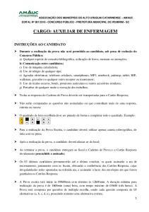 CARGO: AUXILIAR DE ENFERMAGEM
