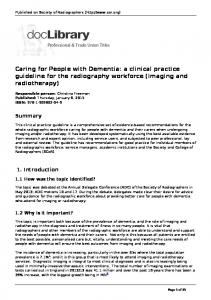 Caring for People with Dementia: a clinical practice guideline for the radiography workforce (imaging and radiotherapy)
