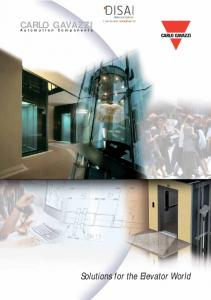 CARLO GAVAZZI. Automation Components. Solutions for the Elevator World