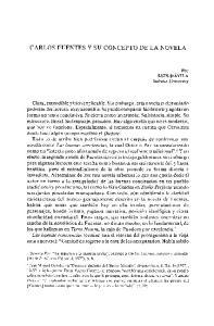 CARLOS FUENTES Y SU CONCEPTO DE LA NOVELA