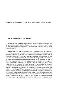 CARLOS GERMAN BELLI Y EL RETO ESTILISTICO DE LA POESIA