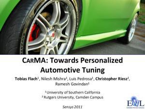 CARMA: Towards Personalized Automotive Tuning
