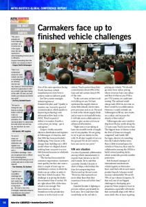 Carmakers face up to finished vehicle challenges