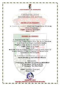 CARNAVAL 2014 PROGRAMA DE ACTOS