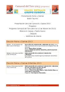 Carnaval del Toro 2013 (programa)
