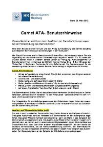 Carnet ATA- Benutzerhinweise