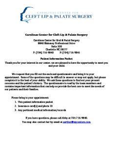 Carolinas Center for Cleft Lip & Palate Surgery