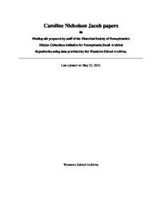 Caroline Nicholson Jacob papers