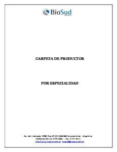 CARPETA DE PRODUCTOS POR ESPECIALIDAD