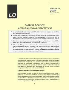 CARRERA DOCENTE: ATERRIZANDO LAS EXPECTATIVAS