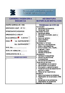 CARRERA INGENIERIA MECANICA ASIGNATURA MATERIALES METALICOS