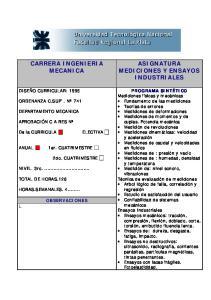 CARRERA INGENIERIA MECANICA ASIGNATURA MEDICIONES Y ENSAYOS INDUSTRIALES