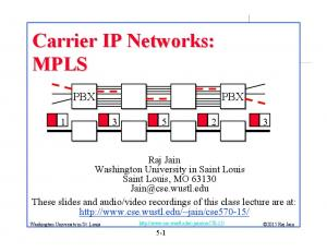 Carrier IP Networks: MPLS