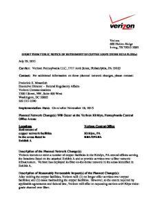 Carrier: Verizon Pennsylvania LLC, 1717 Arch Street, Philadelphia, PA 19103
