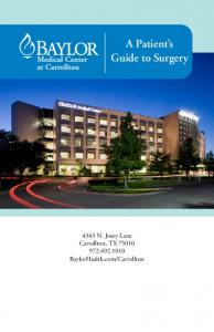 Carrollton. A Patient s Guide to Surgery