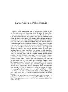 Carta Abierta a Pablo Neruda