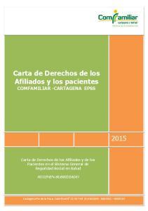 Carta de Derechos de los Afiliados y los pacientes COMFAMILIAR -CARTAGENA EPSS