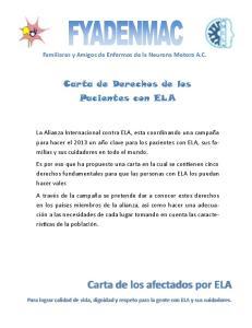 Carta de Derechos de los Pacientes con ELA
