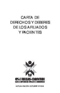 CARTA DE DERECHOS Y DEBERES DE LOS AFILIADOS Y PACIENTES