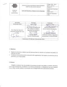Carta de Derechos y Deberes de los Pacientes. Aprobado Revisado Elaborado Noviembre 2013 Agosto 2013 Diciembre 2010