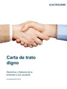 Carta de trato digno. Derechos y Deberes de la empresa y sus usuarios