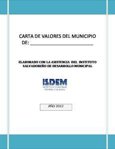 CARTA DE VALORES DEL MUNICIPIO DE: