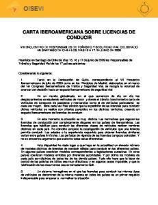 CARTA IBEROAMERICANA SOBRE LICENCIAS DE CONDUCIR