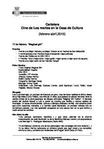 Cartelera Cine de Los martes en la Casa de Cultura (febrero-abril,2015)