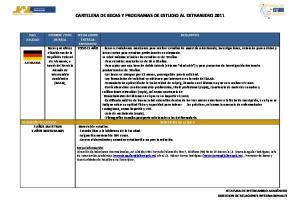 CARTELERA DE BECAS Y PROGRAMAS DE ESTUDIO AL EXTRANJERO 2011