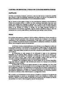 CARTERA DE SERVICIOS. UNIDAD DE CUIDADOS RESPIRATORIOS