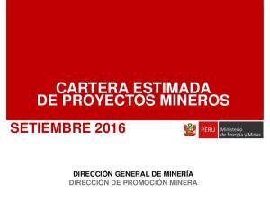 CARTERA ESTIMADA DE PROYECTOS MINEROS