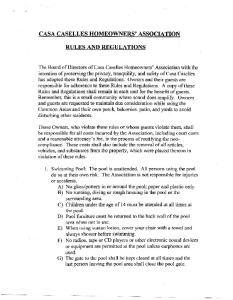 CASA CASELLES HOMEOWNERS' ASSOCIATION