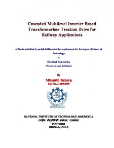 Cascaded Multilevel Inverter Based Transformerless Traction Drive for Railway Applications