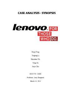 CASE ANALYSIS - SYNOPSIS