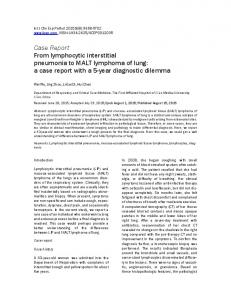 Case Report From lymphocytic interstitial pneumonia to MALT lymphoma of lung: a case report with a 5-year diagnostic dilemma