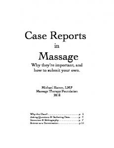 Case Reports in Massage Why they re important, and how to submit your own