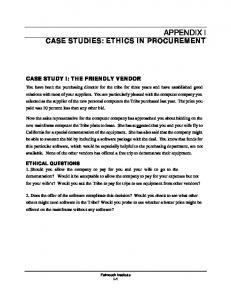 CASE STUDIES: ETHICS IN PROCUREMENT