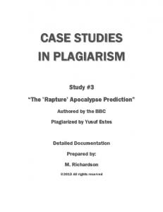 CASE STUDIES IN PLAGIARISM