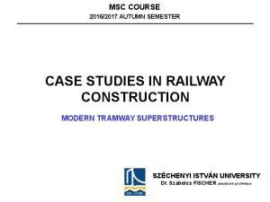 CASE STUDIES IN RAILWAY CONSTRUCTION