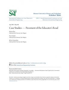 Case Studies Pavement of the Educator's Road