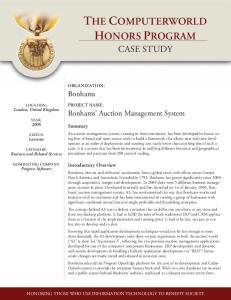 case study Bonhams Bonhams Auction Management System Summary Introductory Overview ORGANIZATION: PROJECT NAME: