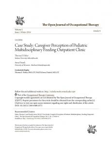 Case Study: Caregiver Perception of Pediatric Multidisciplinary Feeding Outpatient Clinic