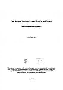 Case Study on Structured Public-Private Sector Dialogue