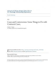 Cases and Controversies: Some Things to Do with Contracts Cases,